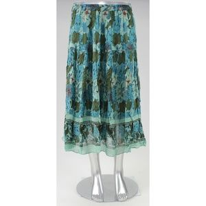 Coldwater Creek Tropical Blue Floral Petite Skirt